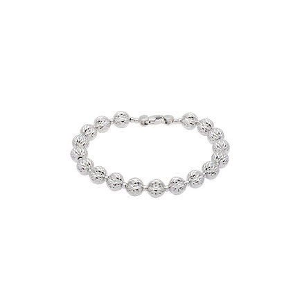 "Sterling Silver 8MM Moon Bead 7"" Bracelet"