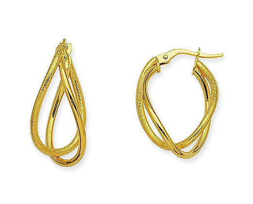 14K Yellow Gold Double Oval Twist Earrings
