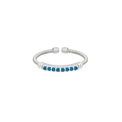 Sterling Silver December Birthstone Cable Cuff Ring
