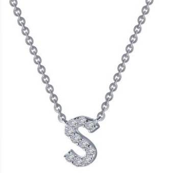Letter 'S' Platinum-Plated Simulated Diamond Necklace