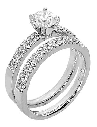 14K White Gold Diamond Engagement Ring .20 cttw Round Diamonds