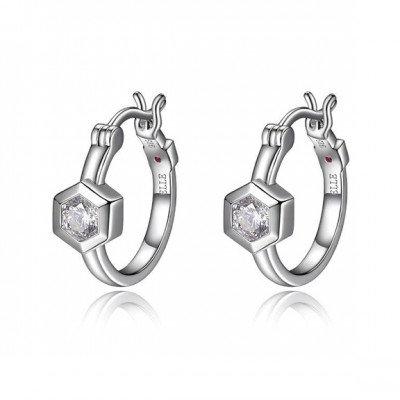 Sterling Silver Bezel Set Simulated Diamond Earrings