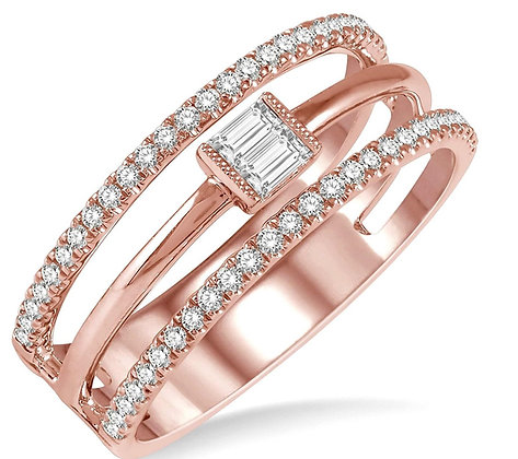 14K Rose Gold Open Three Band Fashion Diamond Ring