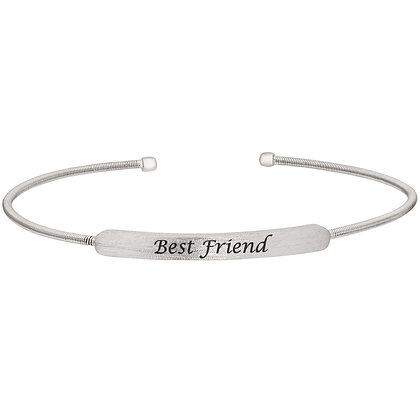 Sterling Silver Rhodium Finish 'Best Friend' Cuff Bracelet