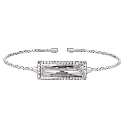Sterling Silver April Birthstone Cuff Bracelet