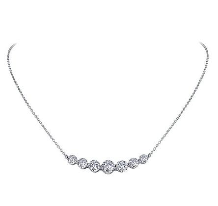 Sterling Silver Platinum Finish Seven Stone Joy Bar Necklace