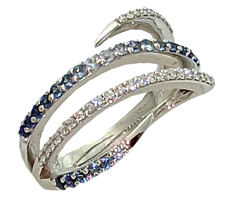 14K White Gold Sapphire and Diamond Crossover Ring