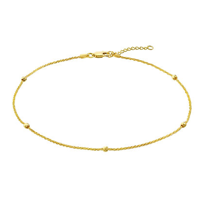 14K Yellow Gold Bead Anklet