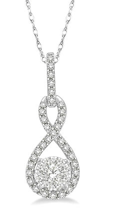 14K White Gold Diamond Necklace with .25 cttw Diamonds