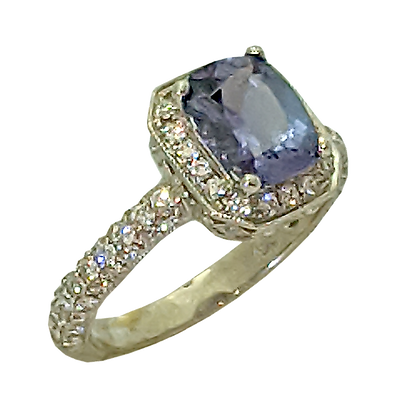 18K White Gold Ring Mounting with .80 cttw Diamonds