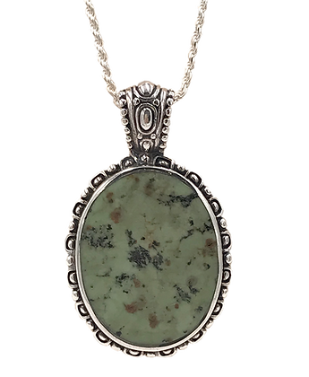 Sterling Silver Green Turquoise Necklace