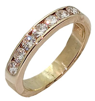 14K Yellow Gold Channel Set Diamond Wedding Ring