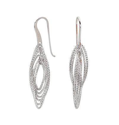 Sterling Silver Fancy Twist Dangle Marquise Earrings