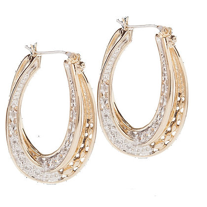 Pave Double Oval Infinity Hoops