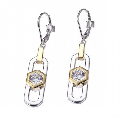 Sterling Silver Two Tone Drop Earrings with Simulated Diamonds