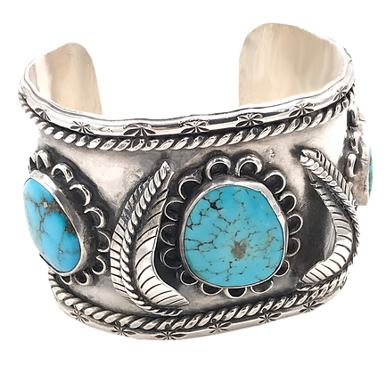 Sterling Silver Large Turquoise Cuff Bracelet