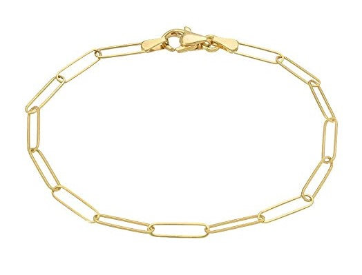 "14K Yellow Gold Paper Clip Chain 8"" Bracelet"