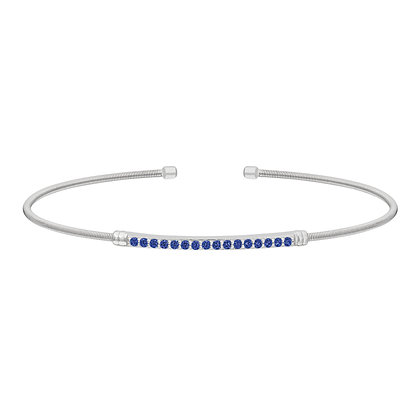 Sterling Silver September Birthstone Cuff Bracelet
