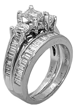 14K White Gold Three Emerald-Cut Diamond Engagement Ring with Baguette Diamonds