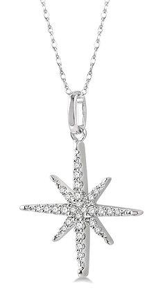 10K White Gold Diamond Star Necklace