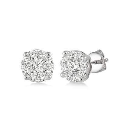 14K White Gold .25 cttw Diamond Cluster Earrings