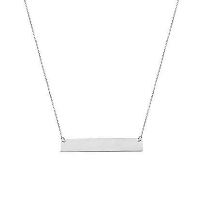 14K White Gold Mini Bar Necklace
