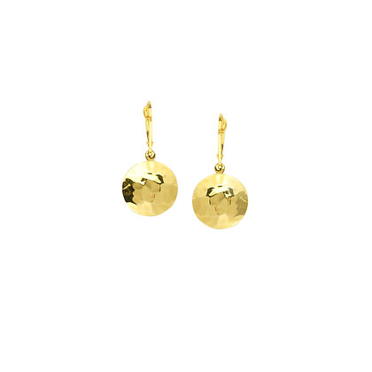 14K Yellow Gold Hammered Disc with Leverback Earrings