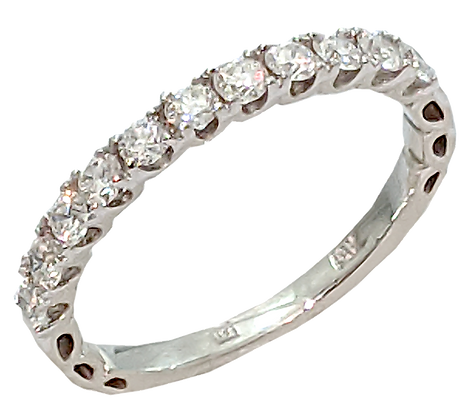 14K White Gold Prong Set Diamond Wedding Ring