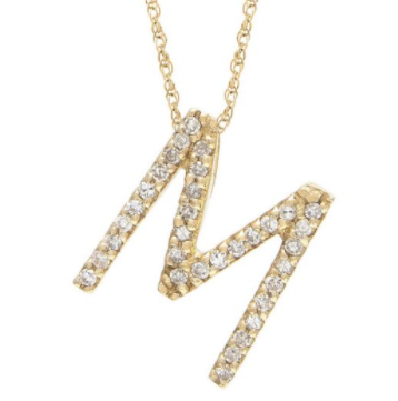 14K Yellow Gold Letter M Diamond Block Initial Necklace