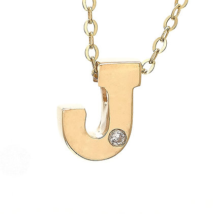 One Diamond 14K Initial Necklace