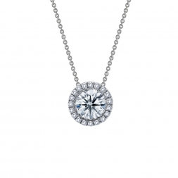 "Sterling Silver Platinum Finish .63ct Solitaire with Halo 18"" Necklace"