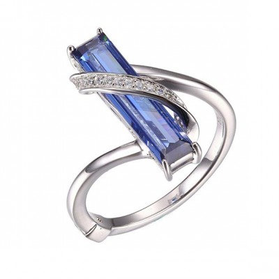 Sterling Silver Ring with Simulated Tanzanite