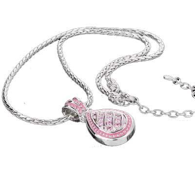 Silver Tone Pink Tear Drop Necklace