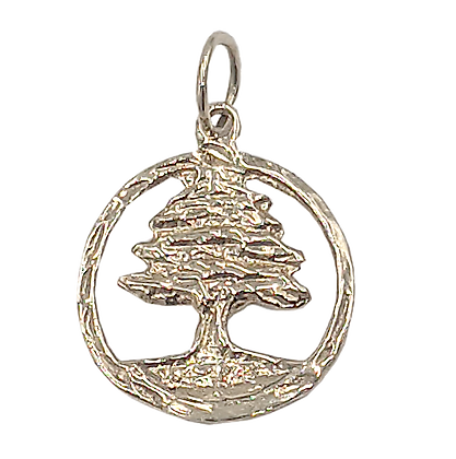 14K Yellow Gold Small Cedar Tree Pendant