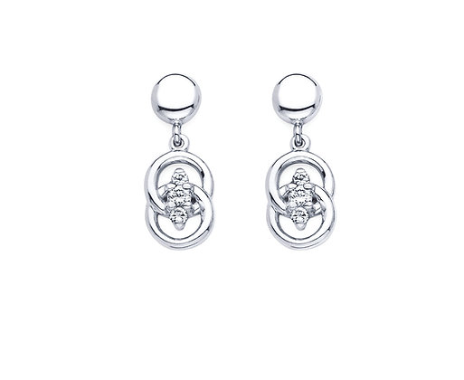 14K White Gold Marriage Symbol Drop Earrings with .25 cttw Diamonds
