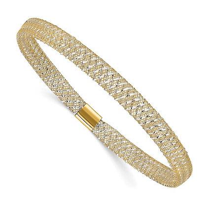14K Gold Two Tone Mesh Bracelet