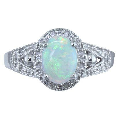 14KW #1 OPAL/DIAMOND RING
