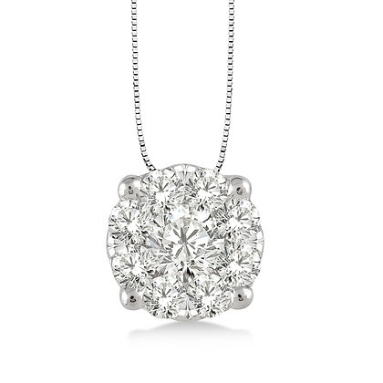 14K White Gold .35 cttw Diamond Cluster Necklace