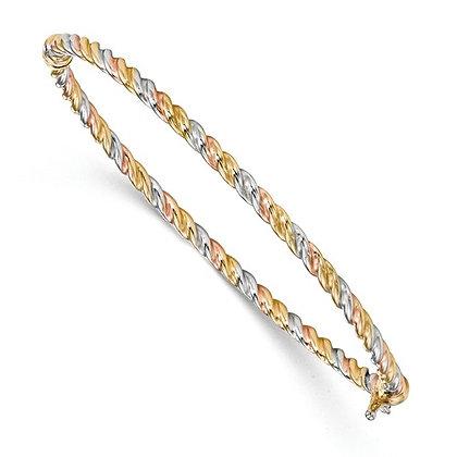 14K Tri-Color Twisted Bangle Bracelet