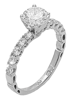 14K White Gold Shared Prong Diamond Engagement Ring