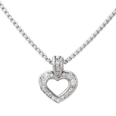 Pave Heart Slider Silver Tone Necklace
