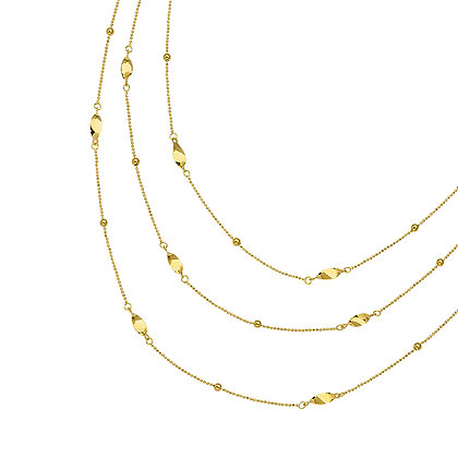 14K Gold Layer Twist Station Chain Necklace
