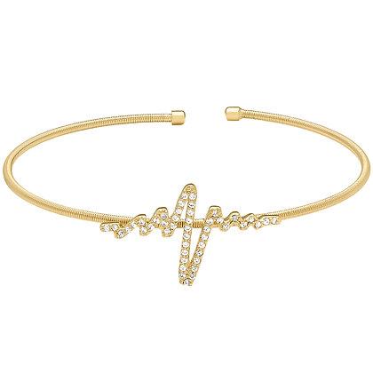 Sterling Silver Gold Finish Heartbeat Cuff Bracelet