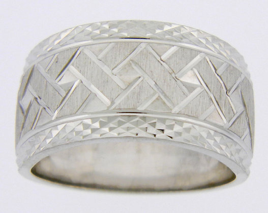 Argentium Silver Basket Weave Diamond Cut Ring
