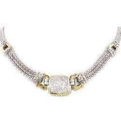 Pave Anvil Square Necklace Silver Tone