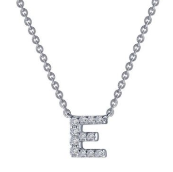 Letter 'E' Platinum-Plated Simulated Diamond Necklace