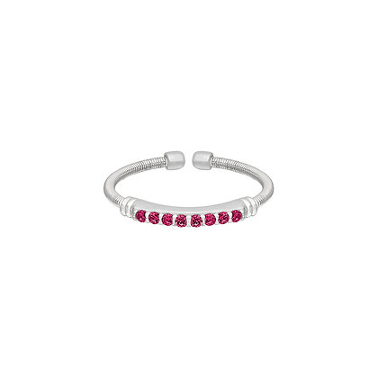 Sterling Silver July Birthstone Cable Cuff Ring
