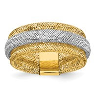 14K Two-Tone Polished Textured Stretch Fashion Ring