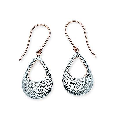 14K Two Tone Oval Drop Earrings