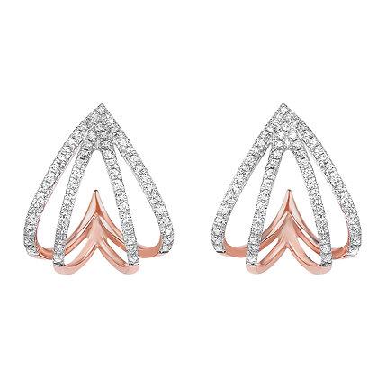 10K Rose Gold Diamond Fan Earrings